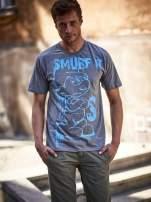 Ciemnoszary t-shirt męski SMERFY                                  zdj.                                  1
