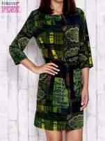 Ciemnozielona sukienka w kolorowe etniczne wzory                                  zdj.                                  1