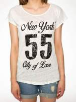 Ciemnyecru t-shirt z napisem NEW YORK CITY OF LOVE 55                                                                          zdj.                                                                         7
