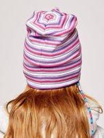 Czapka dziewczęca w paski z naszywką LOVE fioletowa                                  zdj.                                  2
