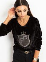 Czarna aksamitna bluza z herbem z dżetów                                  zdj.                                  2