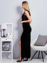 Czarna aksamitna sukienka z cekinowymi kwiatami                                  zdj.                                  3