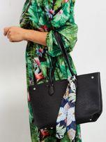 Czarna ażurowa torba shopper                                  zdj.                                  1