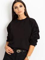 Czarna bluza damska z marszczonymi rękawami                                  zdj.                                  5