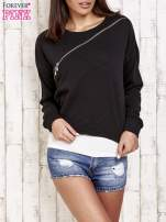 Czarna bluza dresowa z asymetrycznym suwakiem                                  zdj.                                  1