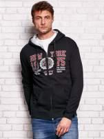 Czarna bluza męska z nowojorskimi motywami                                  zdj.                                  1