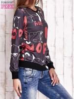 Czarna bluza z kocim motywem