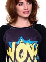 Czarna bluza z komiksowym nadrukiem WOW                                  zdj.                                  4