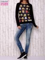 Czarna bluza z nadrukiem emotikonów                                                                          zdj.                                                                         2