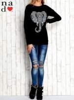 Czarna bluza z nadrukiem słonia                                  zdj.                                  2