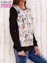 Czarna bluza z rysunkowym nadrukiem                                                                          zdj.                                                                         3