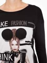 Czarna bluzka w stylu fashion                                                                          zdj.                                                                         5