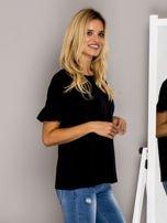 Czarna bluzka z falbanami na rękawach                                  zdj.                                  5