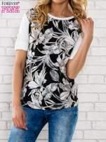 Czarna bluzka z liściastym motywem                                                                          zdj.                                                                         1