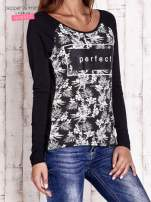 Czarna bluzka z napisem PERFECT i egzotycznymi motywami                                                                          zdj.                                                                         3