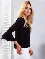 Czarna bluzka z rozszerzanymi rękawami                                  zdj.                                  3
