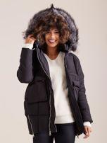 Czarna damska kurtka zimowa                                  zdj.                                  8