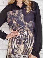 Czarna długa koszula z nadrukiem tygrysa                                  zdj.                                  5