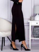 Czarna długa spódnica maxi w transparentne paski                                  zdj.                                  1