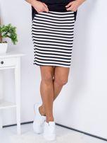 Czarna dopasowana spódnica w paski                                  zdj.                                  1