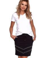 Czarna dresowa spódnica z kieszeniami i perełkami                                  zdj.                                  5