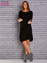 Czarna dresowa sukienka oversize z kieszeniami                                  zdj.                                  2