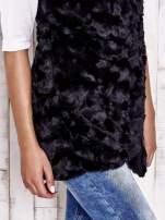 Czarna futrzana kamizelka z kieszeniami