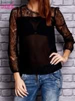 Czarna koszula mgiełka z koronkowymi rękawami                                   zdj.                                  1
