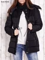 Czarna kurtka puchowa ze skórzanymi wstawkami                                  zdj.                                  6
