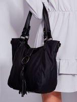 Czarna miękka torba z ozdobną klapką                                  zdj.                                  6