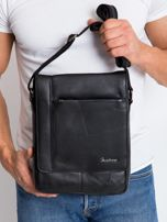 Czarna prostokątna męska torba ze skóry                                  zdj.                                  1