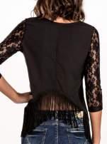 Czarna skórzana bluzka z koronką
