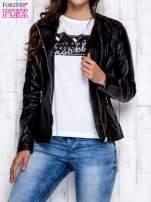 Czarna skórzana kurtka ramoneska z pikowanymi przeszyciami                                                                          zdj.                                                                         7