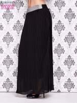 Czarna spódnica maxi plisowana z dżetami w pasie                                                                           zdj.                                                                         3