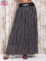 Czarna spódnica maxi w grochy z ozdobnym pasem