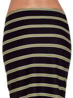 Czarna spódnica midi w żółte paski
