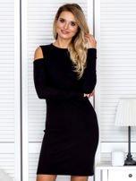Czarna sukienka cold arms w prążek                                  zdj.                                  1