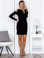 Czarna sukienka cold arms w prążek                                  zdj.                                  4