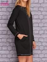 Czarna sukienka oversize z kieszeniami                                  zdj.                                  3