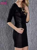 Czarna sukienka tuba ze skórzanymi modułami                                                                          zdj.                                                                         3