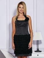 Czarna sukienka z bogato zdobioną spódnicą                                   zdj.                                  1