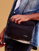 Czarna torba męska materiałowa z kieszeniami                                  zdj.                                  1