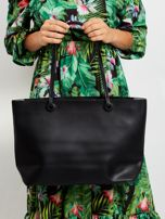 Czarna torba shopper bag z apaszką                                  zdj.                                  3