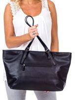 Czarna torba shopper z materiałową wstawką                                  zdj.                                  4