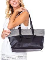 Czarna torba shopper z materiałową wstawką                                  zdj.                                  5