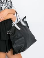 Czarna torba shopper z odpinanym paskiem                                  zdj.                                  3