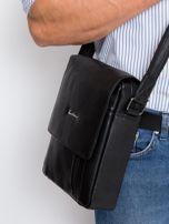 Czarna torebka męska z klapką                                  zdj.                                  1