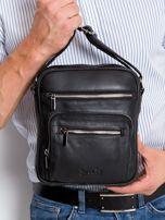 Czarna torebka męska z naturalnej skóry                                  zdj.                                  1