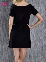 Czarna trapezowa sukienka z kieszeniami                                  zdj.                                  4