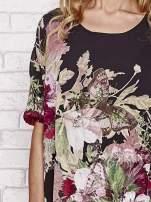 Czarna tunika mgiełka w malowane kwiaty                                  zdj.                                  5